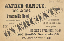 Advertisement for Alfred Cantle's overcoats